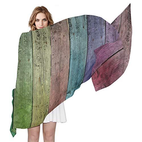 LORONA Damen Regenbogenholz Alter Holzschal Transparent Seidiges Gefühl Lange Schals Leichter Wickelschal