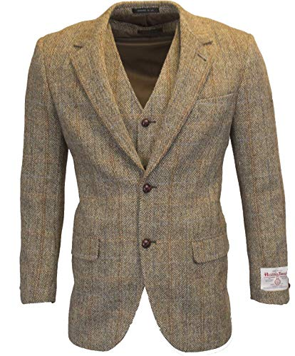 Walker & Hawkes - Mens Classic Scottish Harris Tweed Herringbone Overcheck Country Blazer Jacket - White Sand - 40