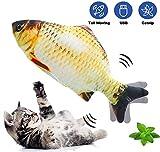 BIGFOX Catnip Giocattoli per Gatti,Giocattoli Elettrici per Pesci,Gioco Gatto,Catnip Giocattoli USB Ricaricabile, Simulazione Peluche di Pesce,Giochi Gatti,Alexo Pesce per Gatti