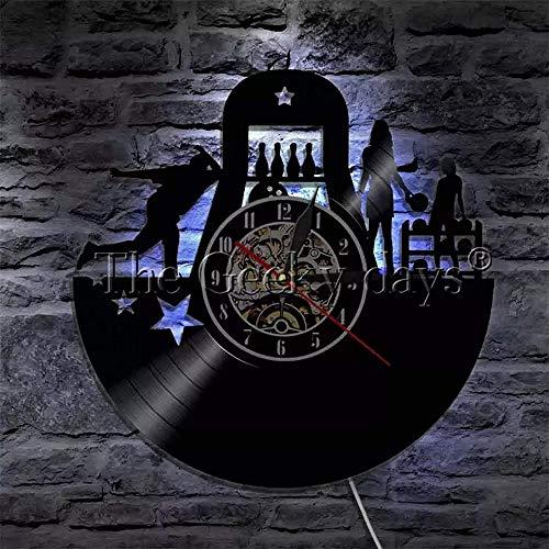 Bowling Sports Disco de Vinilo Reloj de Pared Diseño Moderno Club de Bolos Decoración Reloj de Pared Retro Bowlers Reloj de Pared Bowling Lover Gift-A 12 Pulgadas con LED