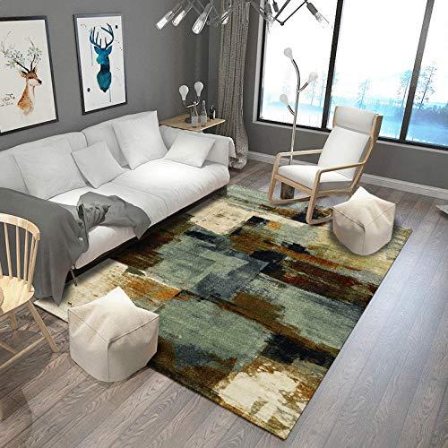 Outdoor-QJ Teppich Wohnzimmer Design Teppich Soft Touch Großer Mehrfarbig Grünes Senfgelb der Galerie der abstrakten Kunst Schlafzimmer Waschbar Anti Rutsch Teppiche 120x160CM
