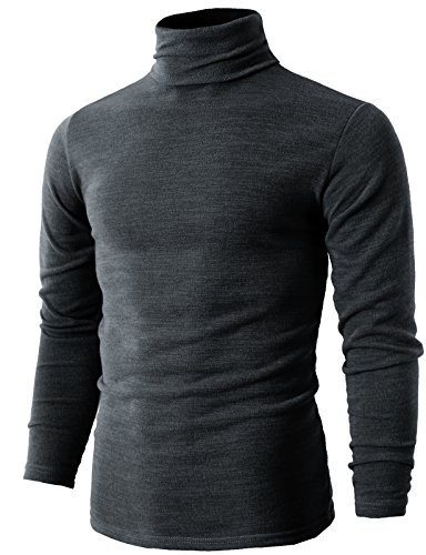 H2H Mens Big & Tall Fashion Knitted Turtleneck Pullover Sweater Gray US S/Asia L (KMTTL028)