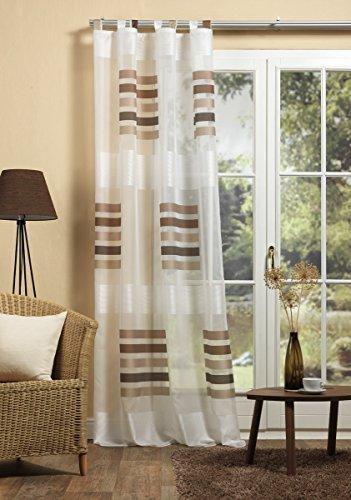 GardTex Schlaufenschal, Schlaufengardine mit auffälligen Blockstreifen Farbe: braun, Größe: 225x140 cm