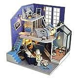 KJRJW Miniatura casa de muñecas, muñeca de DIY Casa Mini Set y Juguetes de Madera 3D Plus Kit de Polvo Cubierta del LED Luces 01:24 Hecha a Mano Regalo de cumpleaños
