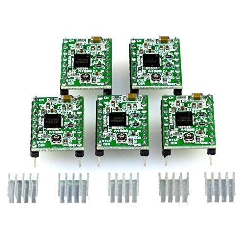 5X modulo driver del motore passo-passo A4988 con dissipatore di calore, ad es. per RAMPE 1.4, CNC Shield, stampante 3d, Prusa Mendel