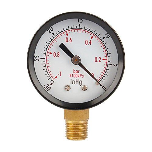 Manometro a doppia scala da 5,1 cm per compressore d'aria, acqua, olio, gas, 1/4' NPT montaggio inferiore MF, 76,2 cm Hg Vacuum/Kpa, precisione 4/3/4%