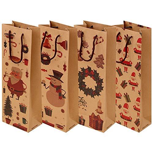 Pz 12 Sacchetti Regalo Vino in Carta Kraft per Alcolici Whisky Borse al Dettaglio Marroni con Manico Perfetto per Feste di Natale Matrimoni Anniversario di Compleanno Regali, Sacchetti per Bottiglia