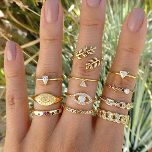 Aukmla Boho Evil Eye Knuckle Rings Set Gold Stackable Finger Rings Midi Size Joint Knuckle Ring Sets for Women and Girls 11PCS