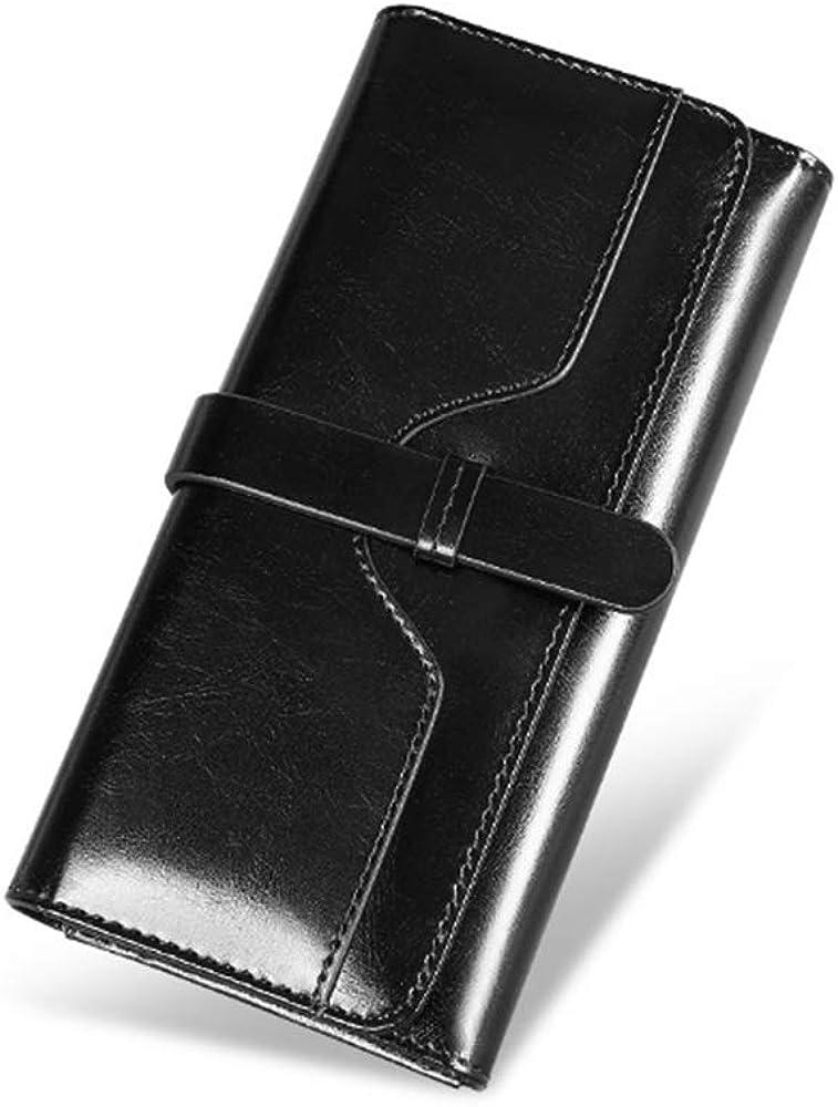 Dominic luxury light, portafoglio da donna, porta carte di credito,  in pelle cerata, nero