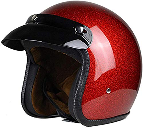 H-CAR Retro Vintage Style Cascos Half-Helmet con Visera Casco Moto Abierto para Adultos Hombres Mujeres Profesional Moto Jet Cascos,para Street Bike Cruiser Chopper Moped Scooter