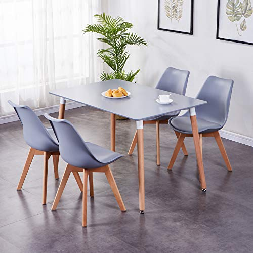 GOLDFAN Dining Table and Chairs Set 4 Modern Rectangle Kitchen Table and Chairs Lounge Wood Style, Grey