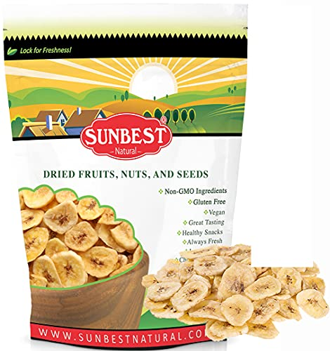 SUNBEST Banana Chips Sweetened in Resealable Bag (15 Ounce)…