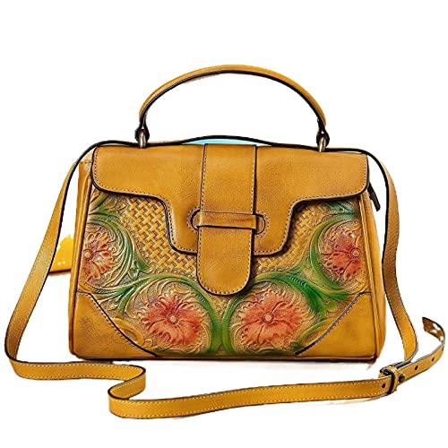 NC Bolso de cuero vintage de las mujeres cepillado en relieve bolso de las mujeres 620g bolso cruzado vintage impreso bolso al aire libre casual floral amarillo