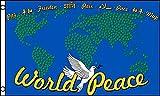 AZ FLAG Flagge Frieden IN DER Welt MIT Karte 150x90cm - Peace Fahne 90 x 150 cm - flaggen Top Qualität