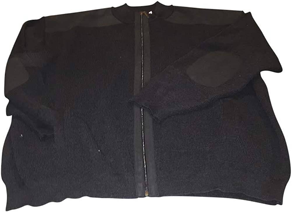 Big and Tall Charcoal Sophisticated All Cotton Zippered Cardigan with Elbow Patches and English Shoulder Patches
