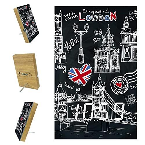 Reloj despertador digital con puerto de cargador USB, reloj despertador moderno para dormitorio, reloj despertador LED con función de repetición de Inglaterra y Londres, símbolo negro