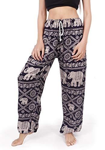 Banjamath Women's Smocked Waist Harem Hippie Boho Yoga Palazzo Casual Pants (L,Dark Blue with Drawstring Waist)