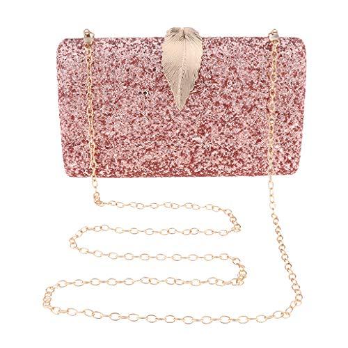 B Baosity Damara Elegant Abendtasche Handtasche Unterarmtasche Schultertasche Partytasche mit Kette - Rosa