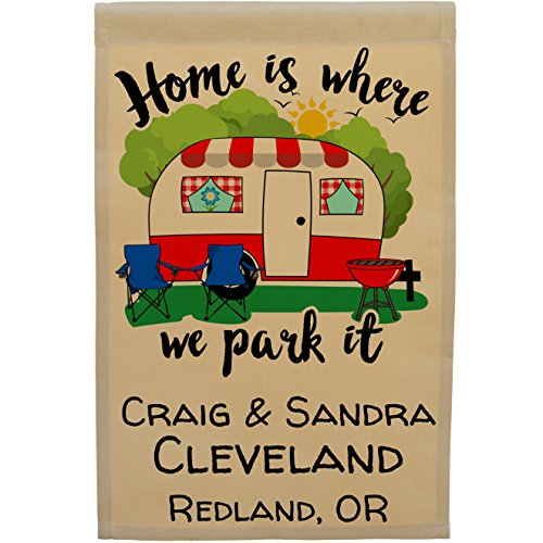Home is Where We Park It, Personalized Campsite Welcome Sign Garden Flag, Flag Only (Red Trim Camper)