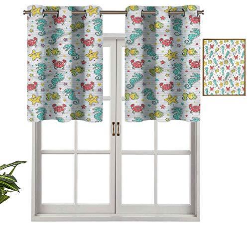 Hiiiman Cenefa de cortina para ventana de privacidad interior, diseño de criaturas marinas, juego de 1, 127 x 45 cm para puerta corredera de patio o comedor