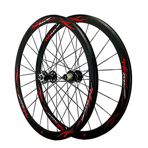 Hs&con Bicicleta de Carretera 700C Bicicleta Wheelset Aleación de Aluminio Frente Trasera Delantera 7/8/9/10/11/12 Cordón Freewheel Disc C/V Rim Rim Altura 40mm QR (Size : 17)