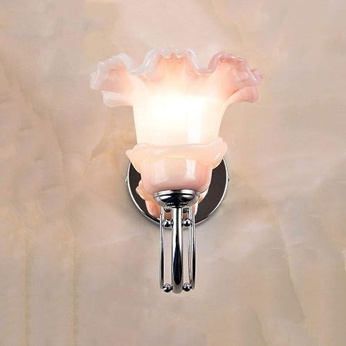 ZY FFaibleers - European Living Room Applique murale Lampe de chevet Allée Applique en fer Applique murale Retro Glass Lamp