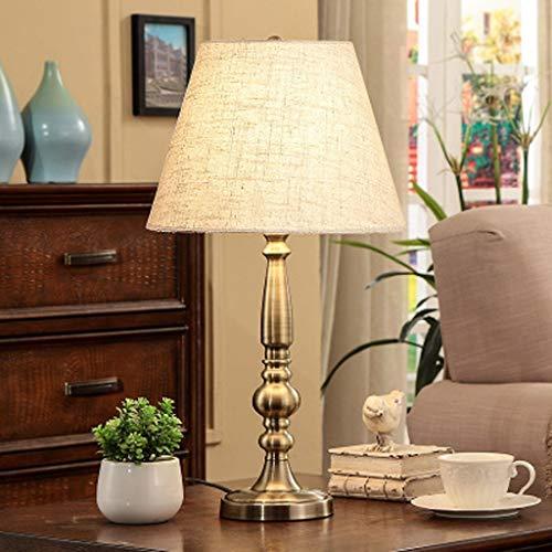 American Eye Tafellamp van koper, retro corpus, metalen lamp, leeslamp van hoogwaardig linnen scherm, bureaulamp, decoratieve slaapkamer