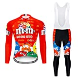 Moxilyn Maillot De Cyclisme,Tenue Cyclisme Homme Hiver,Manches Longues+Pantalon Vêtements De Fitness,Coussin 9D Gel,Costume De...