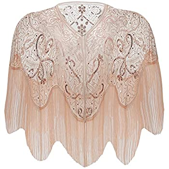 BABEYOND 1920s Shawl Wraps Gatsby Beaded Evening Cape Bridal Shawl for Evening Dresses Wedding Party  Champagne