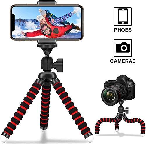 2020最新スマホ三脚 カメラ三脚 Gopro三脚 一眼レフ三脚ホルダー iPhone Android 一眼レフ デジカメ ビデオ カメラ プロジェクター ブラック Bluetooth リモコン付き 自撮り 360度回転 (red)
