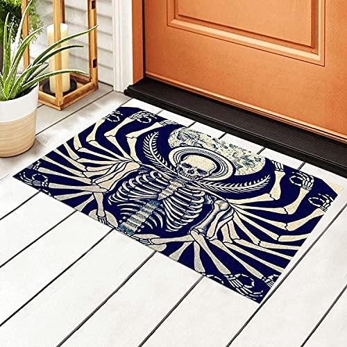 Titafel Welcome Doormats Vintage Occult Gothic Skull Skeleton Hand Floor Door Mat Non-Slip Indoor Area Runner Rugs Home Decor for Entrance Way Kitchen Bedroom Living Room