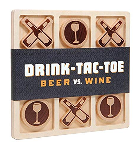 Chronicle Books Drink-Tac-Toe: Beer Vs. Wine (Tic Tac Toe Drinking Game, Wooden Tic Tac Toe Board...