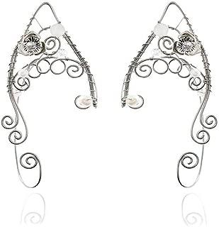 Yolmina Elf Ear Cuffs, Handmade Clip-on Earrings - Pearl Wing Tassel Filigree Elven Cuff Wrap Earrings for Women - Fantasy Fairy Halloween Costume, Cosplay, Wedding, Handcraft (more styles)