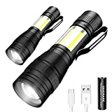 GIVERARE 2 PCS Tactical LED Flashlight, Rechargeable (Battery Included) Mini Super Bright Flashlights