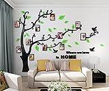 Alicemall Stickers Autocollants Muraux Amovibles 3D en Acrylique Arbre avec des Branches Incurvées et des Cadres de Photo et des Oiseaux (Feuilles Vertes)