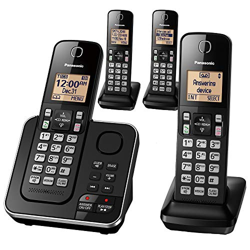 Panasonic Expandable Cordless Phone System with Answering Machine, Call Block, Intercom, Speakerphone, and Amber Backlit Display – 4 Handsets – KX-TGC364B (Black)