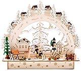 BRUBAKER - Arc lumineux 3D - Paysage d'hiver/Village enneigé - Éclairage LED - 27,5 x 24,5 x 8,7 cm - Détails peints à la main - Bois naturel - Décoration de Noël traditionnelle