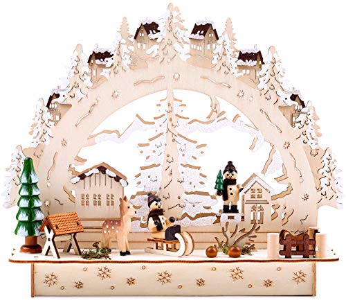 BRUBAKER Christmas LED Light Arch - Winter Village - 11.8 x 3.5 x 9.8 Inches