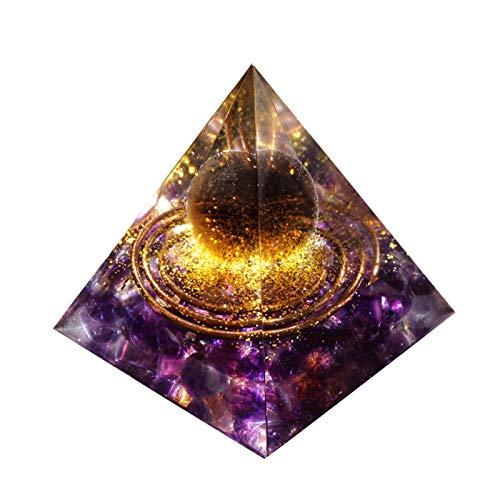 ZTTT Handgemachte Pyramide 60mm Smoky Crystal Kugel mit Amethyst Indoor-Brunnen-Zubehör Handwerk Dekoration Geschenk (Size : 60mm)