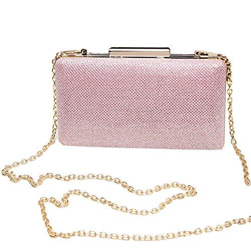 Bolso de embrague, diseñador de la noche de bodas bolso monedero bolso de mano para las mujeres (Rosado)