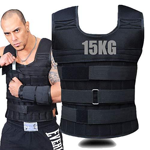 LSHOME Gewichtsweste 15 Kg Verstellbare Unsichtbare Weste Trainingsjacke Körpergewicht Weste Krafttragende Ausrüstung Für Fitness-Lauftraining,Black (Empty core) 15kg