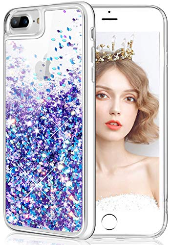 wlooo iPhone 8 Plus Hülle Glitzer, Handyhülle iPhone 6 Plus, Flüssig Treibsand Glitter Quicksand Case Weich TPU Bumper Silikon Schutzhülle für iPhone 6 Plus/6s Plus/7 Plus/8 Plus (Blau Lila)