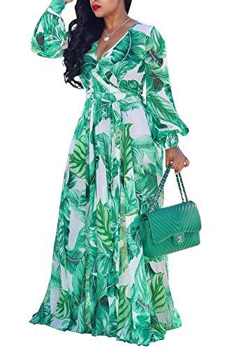 Hestenve Womens V Neck Chiffon Long Sleeve Floral Printed Long Maxi Dress Green