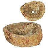 vidaXL Fregadero Piedra Fósil Accesorios Cocina Moderno Articulos Fontanería Decoración Clásica Resistente Manchas Arañazos Color Crema 45x35x15cm