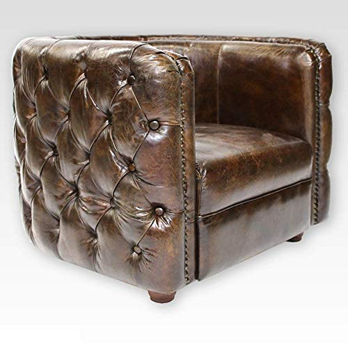 Phoenixarts Vintage Echtleder Chesterfield Ledersessel Braun Design Lounge Leder Club Sessel 462