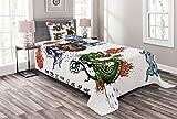 ABAKUHAUS japanisch Tagesdecke Set, Manga Stil Drache, Set mit Kissenbezügen Sommerdecke, für Einselbetten 170 x 220 cm, Grün Blau