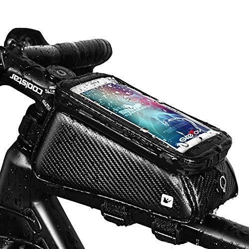 Grefay Fahrrad Rahmentaschen Wasserdicht Farhrradlenkertasche Oberrohrtasche Handytasche Geeignet für Smartphones/Innerhalb mit Kopfhörerloch, TPU Touchschirm von 6 Zoll (Carbonschwarz)