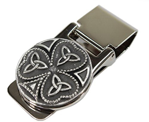Shamrock Celtic Money Clip Trinity Knot Stainless Steel & Pewter Made in Ireland
