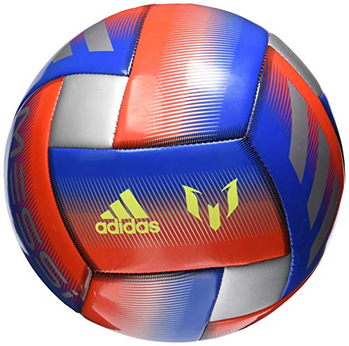 adidas Messi Glider Soccer Ball Football Blue/Active Red/Silver Metallic, 5