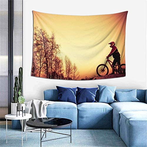 Wall Decoration Tapestry - Forest Mountain Bike Hippie Art Tapestry Wall Hanging - Extra Large Tablecloths 60 X 40 Inch for Bedroom Living Room Dorm Room Home Decor